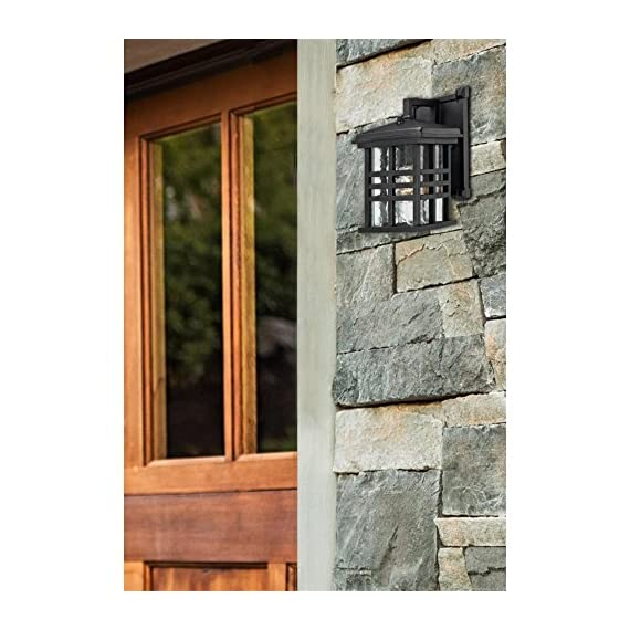 Westinghouse Lighting 6204500 Caliste 1 Light Outdoor Wall Lantern with Dusk to Dawn Sensor, Textured Black - One-light outdoor transitional wall lantern with dusk to dawn sensor, automatically turns on at dusk and off at dawn Textured Black finish on aluminum with clear water glass adds transitional Style to any outdoor setting 10 by 6 inches (H x w); extends 7-3/4 inches; 4 inches height from center of outlet box; back Plate is 8 by 5 inches (H x w) - patio, outdoor-lights, outdoor-decor - 51zwJL6W4%2BL. SS570  -