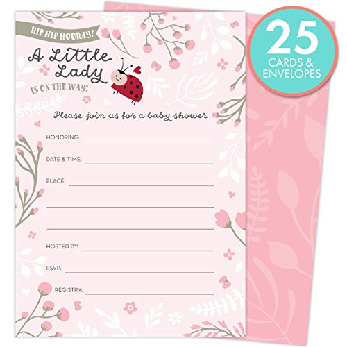 Way Baby Shower (Little Lady on the Way Baby Shower Invitations for Girls, Set of 25 Fill-In Style Cards and Envelopes. Ladybug Theme with Pink and White Flowers, Butterflies and Hearts.)