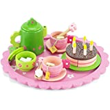 18 Inch Doll Wooden Tea Set (28 Pieces) for Little Girls | Cake Play Dessert Food Set | Fits American Girl Dolls