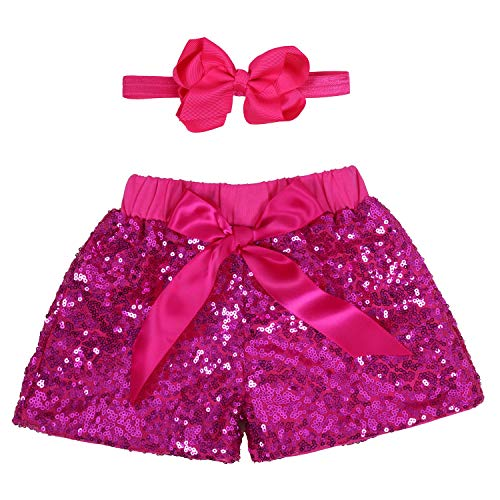 - Baby Girls Shorts Kids Sparkle Toddler Sequin Shorts Glitter on Both Sides Birthday Outfits Headband Hot Pink 12 Months