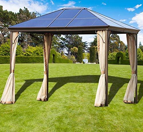 Superday Gazebo de jardín para Exteriores, 12 pies x 10 pies, toldo de Carpa para Patios de Aluminio Permanente, mosquitero de Tapa Dura: Amazon.es: Jardín