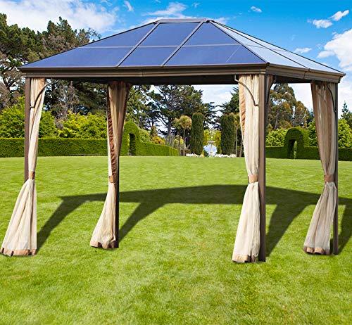 (Superday Outdoor Garden Gazebo 12' x 10' Patios Gazebo Canopy Permanent Aluminum Hard PC Top Mosquito Netting )