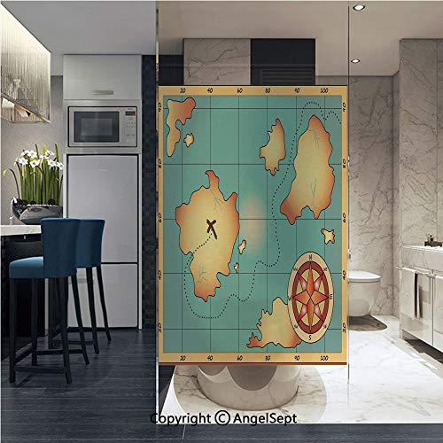 Window Films Privacy Decorative Ancient Treasure World Map Design with Compass Navigation Adventure Hidden Land Glass Film (22.8in. by 35.4in),Cream Blue