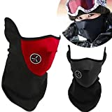 Winter Bicycle Cycling Sports Half Face Mask Cover Neck Veil Set of 2 (Black+Red)