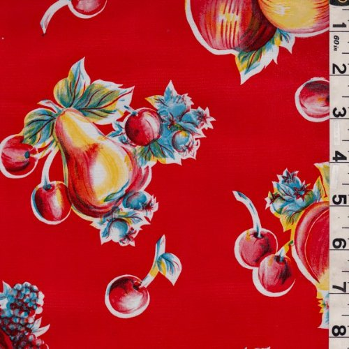 Red Fruit Oilcloth, Fabric By the Yard ()