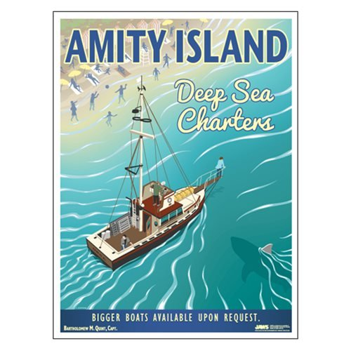 Factory Entertainment Jaws Amity Island Deep Sea Charters Travel Lithograph Print