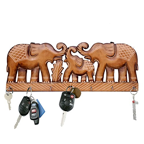 - WILLART Handicraft Wooden Wall Décor Wall Hanging Elephant Design Key Holder Home Décor Home Furnishing (Key Holder Hooks : 7) : Dimension - 15.5 Inch X 6 Inch X 0.75 Inch
