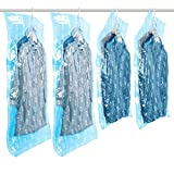 TAILI Hanging Vacuum Space Saver Bags for Clothes, Set of 4 (2 Long 53x27.6 inch, 2 Short 41.3x27.6 inch), Vacuum Seal Storage Bag Clear Bags for Suits, Dress or Jackets, Closet Organizer