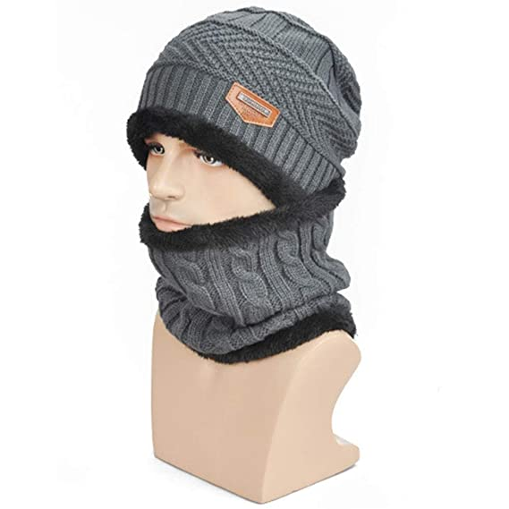 fdb3917ae43 Tinksky Men s Winter Knit Warm Wool Slouchy Beanies SkullCap with Scarf Set  (Grey)  Amazon.in  Clothing   Accessories