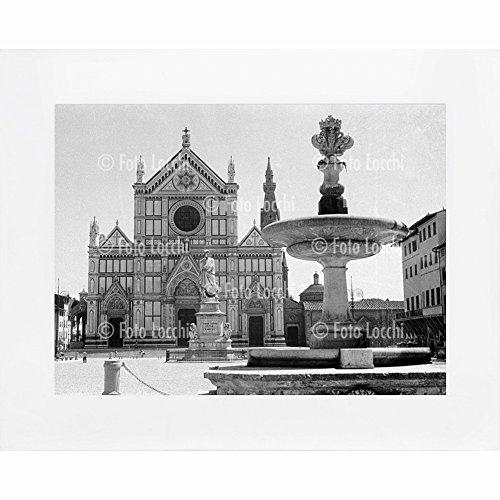 Archivio-Foto-Locchi-Firenze-Stampa-Fine-Art-su-passepartout-50x40cm-Immagine-di-Piazza-Santa-Croce-a-Firenze-negli-anni-30