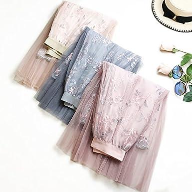 Usmley Verano Mujer Tul Bordado Floral Faldas de Cintura Alta Flexibilidad de Larga Falda Plisada Malla Perspectiva