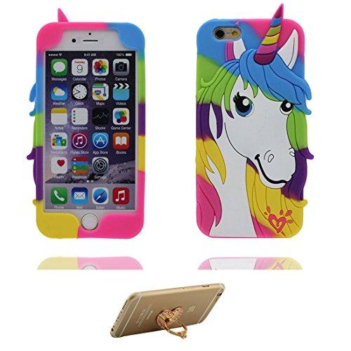 """iPhone 7 Plus (5.5"""") Coque, [ de matériau TPU souple ] iPhone 7 Plus étui (5.5 pouces), poussière glissement résistant aux rayures, iPhone 7 Plus Case Licorne & ring Support de téléphone"""