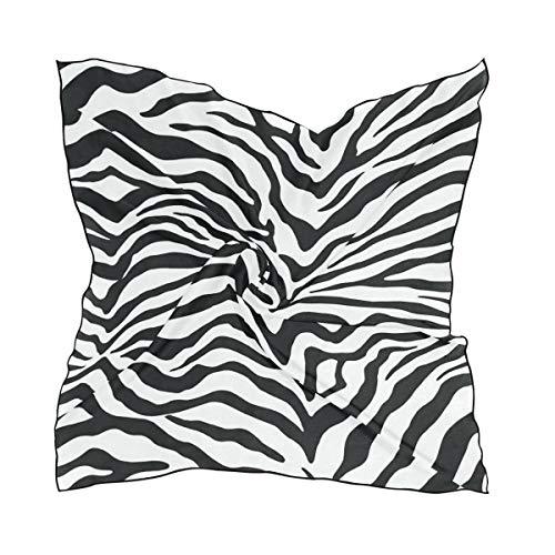 Womens 23.6 inch Satin Silk Formal Square Neck Scarf Square Black And White Zebra Print Fashion Head Scarfs for Mother