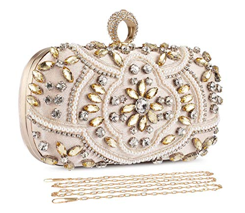 - UBORSE Crystal Beaded Evening Bags Clutches for Women Formal Bridal Wedding Clutch Purse Prom Cocktail Party Handbags (One Size, Gold)