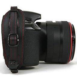 Herringbone Heritage Type2 DSLR SLR Camera Leather Hand Grip Strap Black with Red stitch