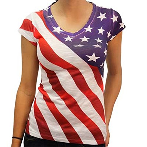 Diagonal Stars and Stripes V-Neck Tee (Star Flag Shirt)