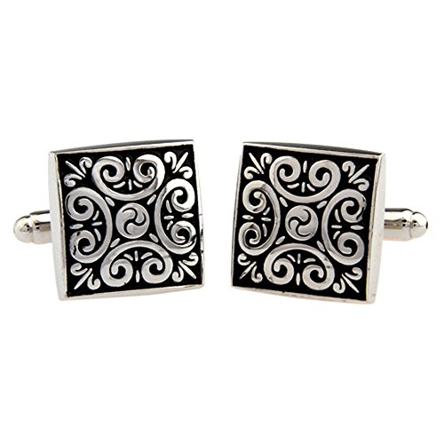 UM Jewelry 2pcs Rhodium Plated Vintage Cufflinks Flower Engraved for Wedding,Black Silver Two Tone ()