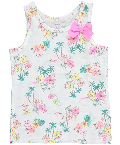 "Carter's Little Girls' Toddler ""Tropical Beach Girl"" Tank Top - pink/white, 4t"