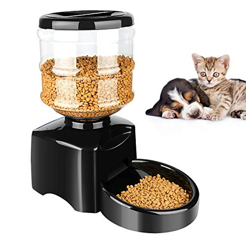 ONSON 5.5L Automatic Pet Feeder - Support LCD Screen and Voice Message Recording - Healthy,Simply Dogs Cats Food Bowl Dispenser ()