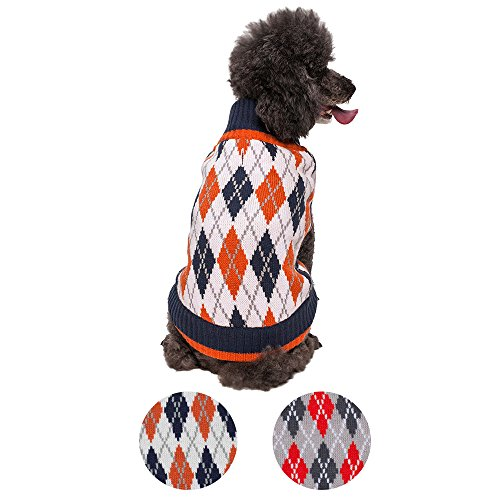 "Blueberry Pet 2 Patterns Chic Argyle All Over Dog Sweater in Midnight Blue and Dark Princeton Orange, Back Length 10"", Pack of 1 Clothes for Dogs"