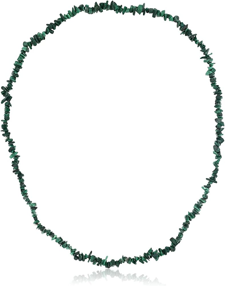 Gem Stone King 447.00 Carat Green Malachite Crystal Chip Necklace 32 Inch