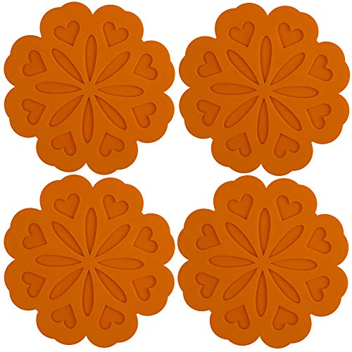 Spoon Rest Trivet - ME.FAN 4 Set Silicone Pot Holders, Trivet Mat, Jar Opener, Spoon Rest and Kitchen Trivet, Non Slip Flexible, Durable, Heat Resistant Dishwasher Available Kitchen Trivet and Pot Pads-Orange