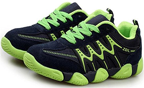 PPXID Boy's Girl's Athletic Lace Up Casual Sneaker Running Shoes-Green 10 US size