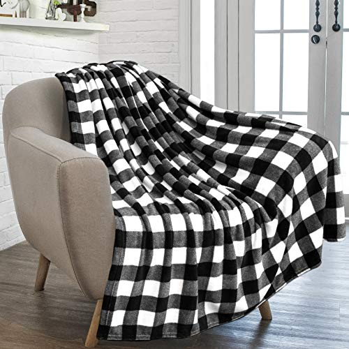 PAVILIA Flannel Fleece Throw Blanket for Sofa Couch | Super Soft Velvet Plaid Pattern Checkered Decorative Throw | Warm Cozy Lightweight Microfiber | 50 x 60 Inches Plaid ()