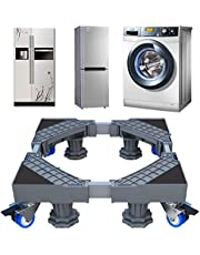 Washing Machine Stand 2021 Upgrade Multi-Functional Movable Adjustable Base Mobile Roller with 4×2 Locking Rubber Swivel Wheels and 8 Strong Feet for Washing Machine, Dryer and Refrigerator