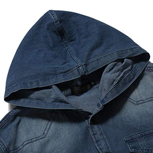 Automne Encapuchonné Distressed Bouton Chemise Blouse Malloom Haut Vintage Capuchon À Mens Denim Bleu Hiver ZAxTYIq