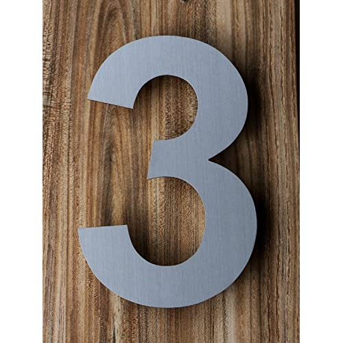 good QT Modern House Numbers 6 Inch Brushed Stainless Steel