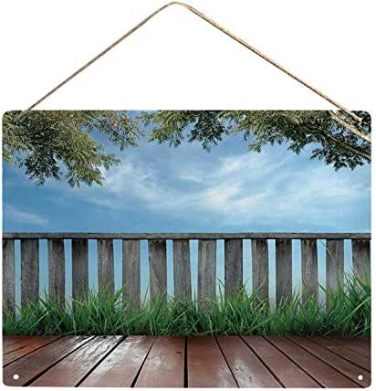 Patio Decor Utility Metal Tin Sign,Wooden Seem Terrace Veranda with Olive Trees in Open Sky Photo for Home,16