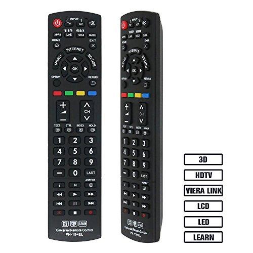 Gvirtue Universal Remote ControlGPN-15 CompatibleReplacement for Panasonic TV/ VIERA Link/ HDTV/ 3D/ LCD/ LED, Applicable N2QAYB000485 N2QAYB000100 N2QAYB000221 (Smart Tv Plasma Hdtv)