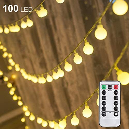 - Twinkle Star 100 LED 50 FT Ball String Lights, Fairy String Lights Plug in with Remote Control Decor for Indoor Outdoor Party Wedding Christmas Tree Garden, Warm White