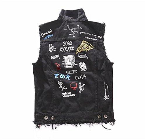 - Man Motorcycle Riding Vest Doodle Print Hip hop Punk Rock Denim Sleeveless top