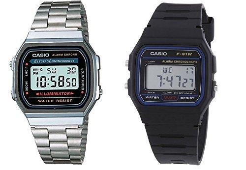 Paquete de Casio - Casio A168W -1 reloj de pulsera de acero inoxidable y Casio
