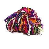 Darn Good Yarn, Istanbul Sparkle Embellished Sari Silk Ribbon, 30 Yards, Multicolor, 100 Grams, 1 Skein