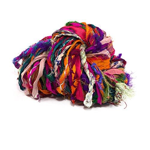 Darn Good Yarn, Istanbul Sparkle Embellished Sari Silk Ribbon, 30 Yards, Multicolor, 100 Grams, 1 Skein by Darn Good Yarn