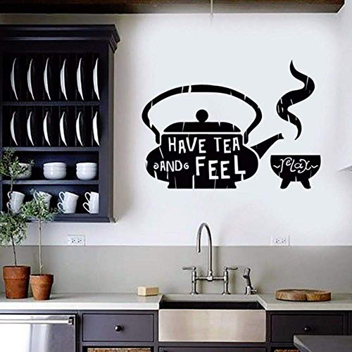 JQSM Classic Home Decor for Kitchen Tea Teapot Cafe Teahouse Vinyl Wall Sticker Teahouse Restaurant Wall Decals Removable 79X57CM