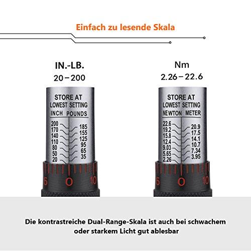 TACKLIFE 1//4 Drehmomentschl/üssel HTW4A - HTW4A 20-200 in.//2.26-22,6 Nm Drehmomentschl/üssel Satz mit 3//8 Adapter und Verl/ängerungsstange