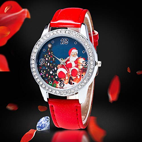 Christmas Pattern Rhinestone Dial Faux Leather Strap Couples Analog Quartz Wristwatch by Gaweb (Image #3)