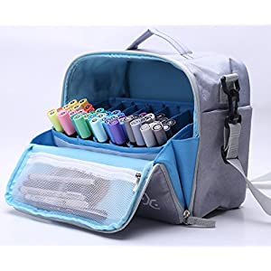 Togood Storage Tote Bag for Marker Pens Brush Pen Coloring Pencils Books Art and Crafts Supplies Tools Cosmetics, up to 130 Pens (Grey)