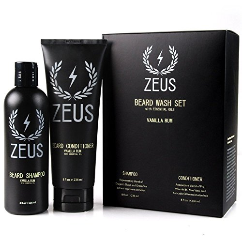 Zeus Beard Shampoo and Beard Conditioner Set for Men - (8 oz. Bottles) (Scent: Vanilla Rum) (Vanilla Extract Bottles 8 Oz compare prices)