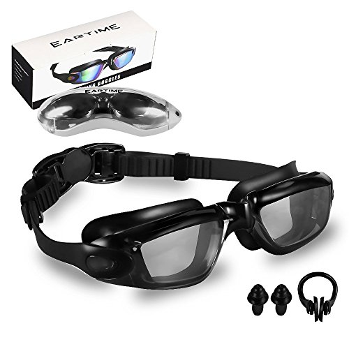 EARTIME Swimming Goggles, Swim Goggles for Adult Men Women Youth Anti Fog UV Protection No Leaking Swim Glasses with Case Protection & Nose Clip & Ear Plugs