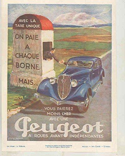1937 Peugeot 301 Berline Ad Miniavox Art Deco Radio