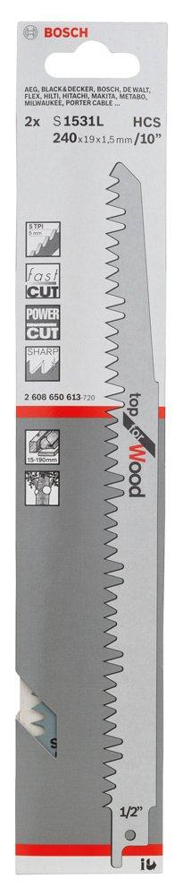 Top for Wood Bosch 2 608 650 613 Hoja de sierra sable S 1531 L pack de 2