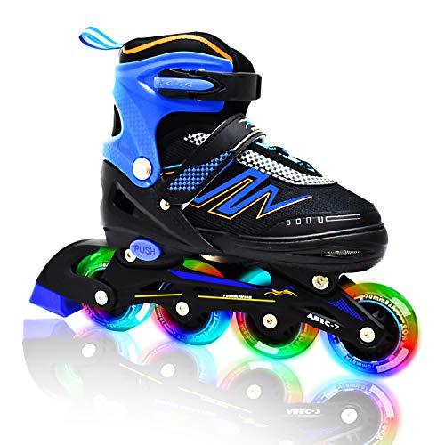 Hiboy Adjustable Inline Skates with All Light up Wheels, Outdoor & Indoor Illuminating Roller Skates for Boys, Girls, Beginners (Blue, Medium-2-5) (The Best Inline Skates)