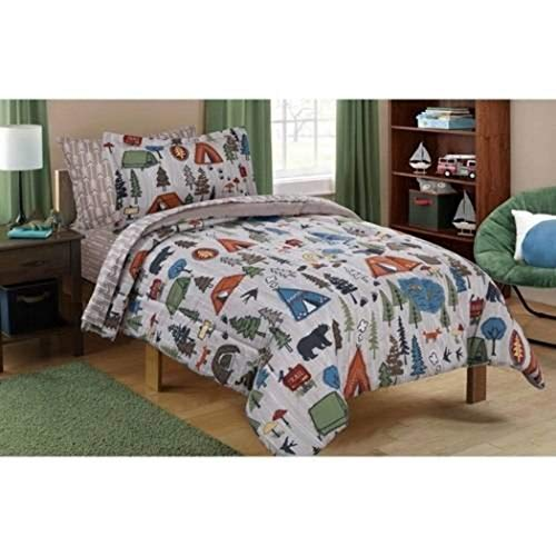 - N2 5 Piece Kids Grey Cute Camping Themed Comforter Twin Set, Outdoors Camp Pattern Bedding Bears Pinetrees Tents Trees Wilderness Trails Hiking Forest, Brown Orange Green Polyester Microfiber