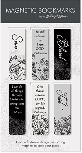 AngelStar Black & White Scripture Magnetic Bookmark 6-Pack