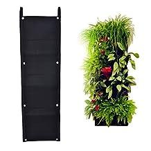 Moonguiding 7 Pockets Vertical Wall Garden Planter-Wall Mount Living Growing Bag Felt Indoor/Outdoor Pot